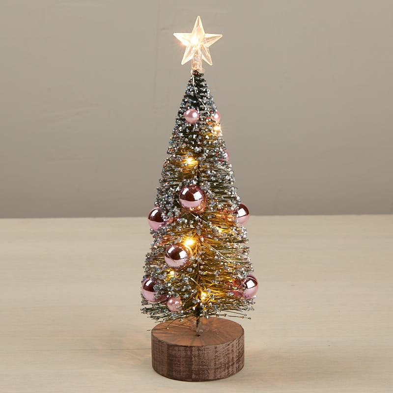 Pink Glittered Led Light Up Bottle Brush Tree Christmas