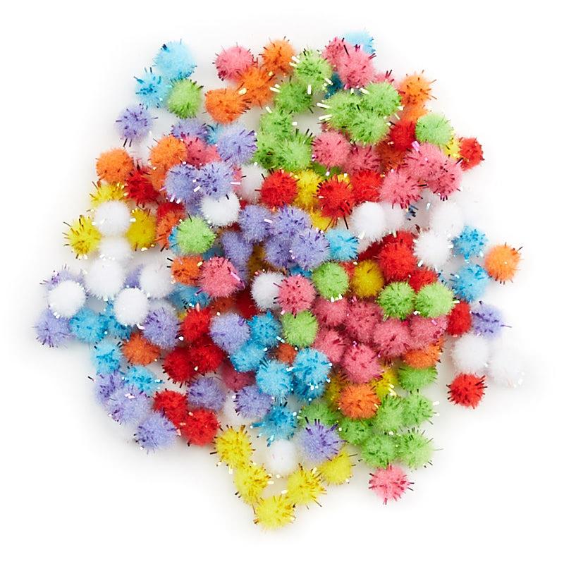 Assorted craft tinsel pom poms craft pom poms kids for Where to buy pom poms for crafts
