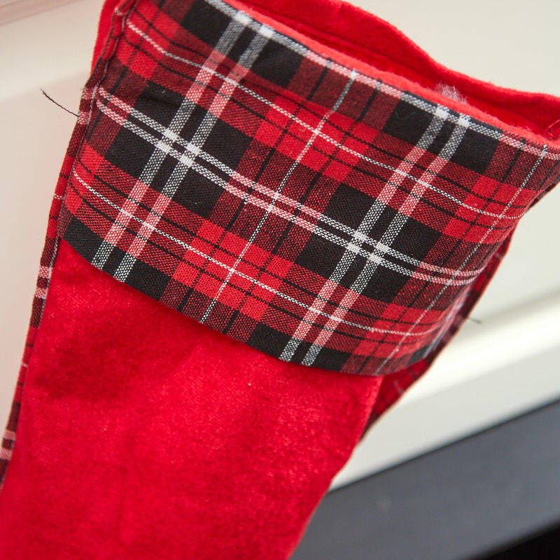 plaid cuff christmas stocking stockings tree skirts christmas and winter holiday crafts. Black Bedroom Furniture Sets. Home Design Ideas