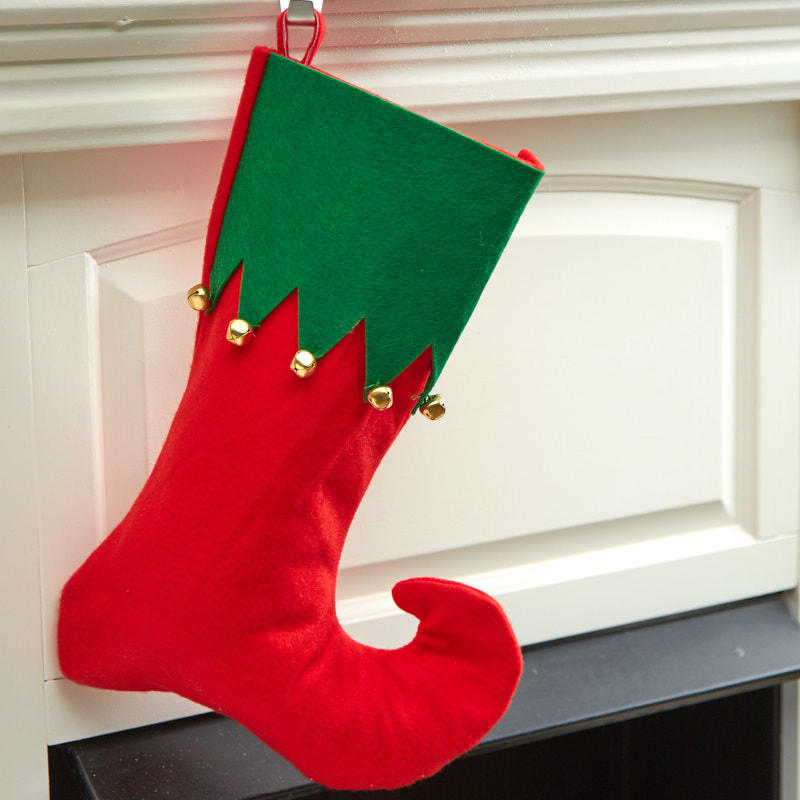 Jingle bell elf stocking stockings tree skirts