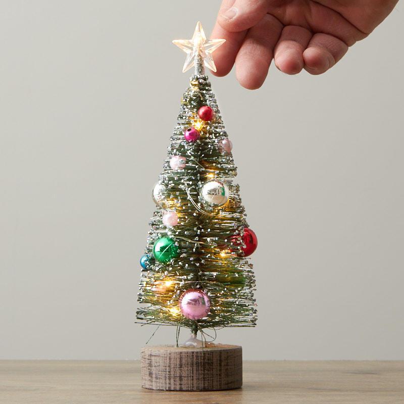 Glittered Led Light Up Bottle Brush Tree Christmas