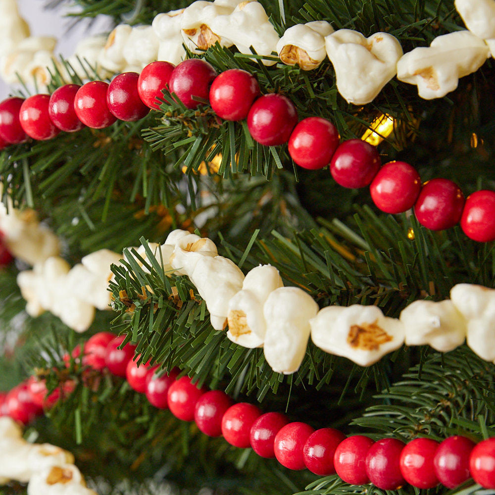 Faux Popcorn And Cranberry Garland Set Christmas Garlands