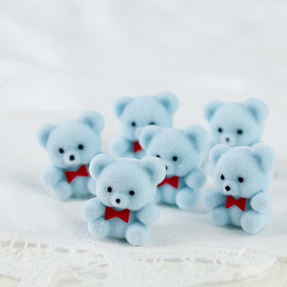 Miniature baby blue flocked teddy bears its a boy theme baby click here for a larger view thecheapjerseys Choice Image