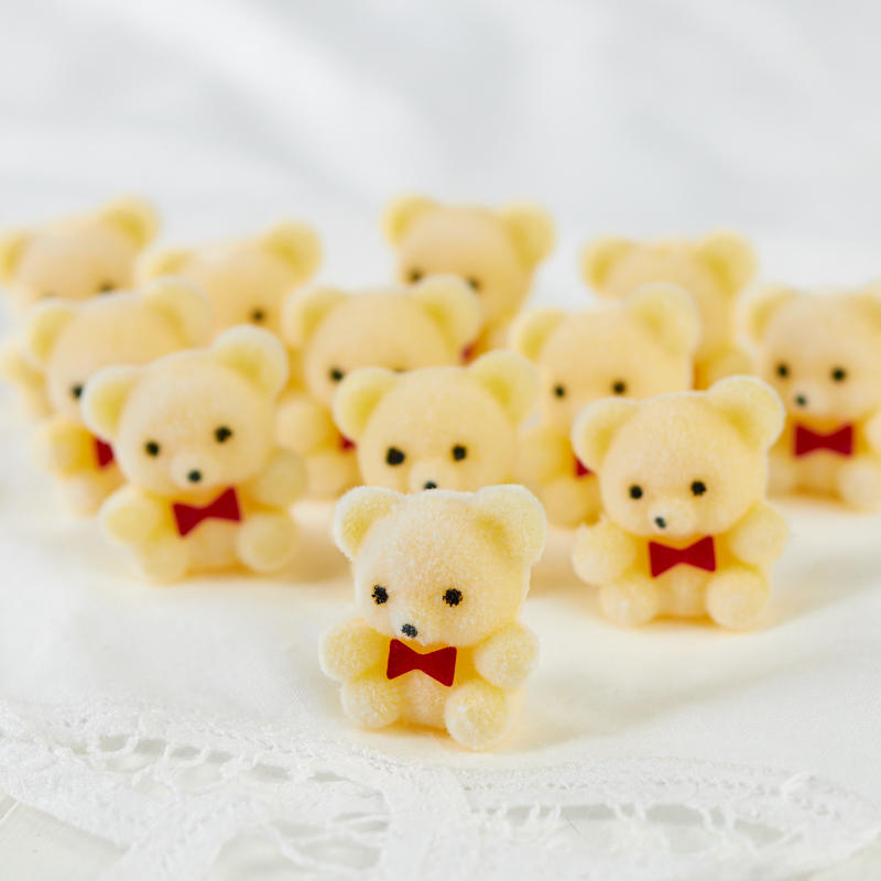 Package of 24 Sitting Flocked Yellow Miniature Teddy Bears