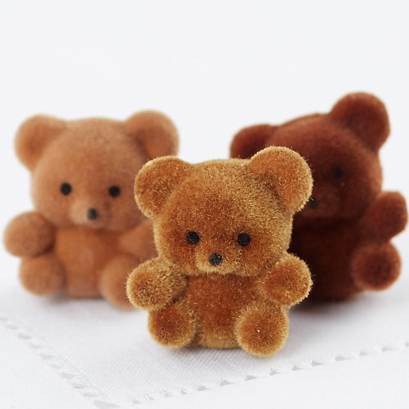 Miniature Brown Flocked Teddy Bears - Christmas Miniatures ...