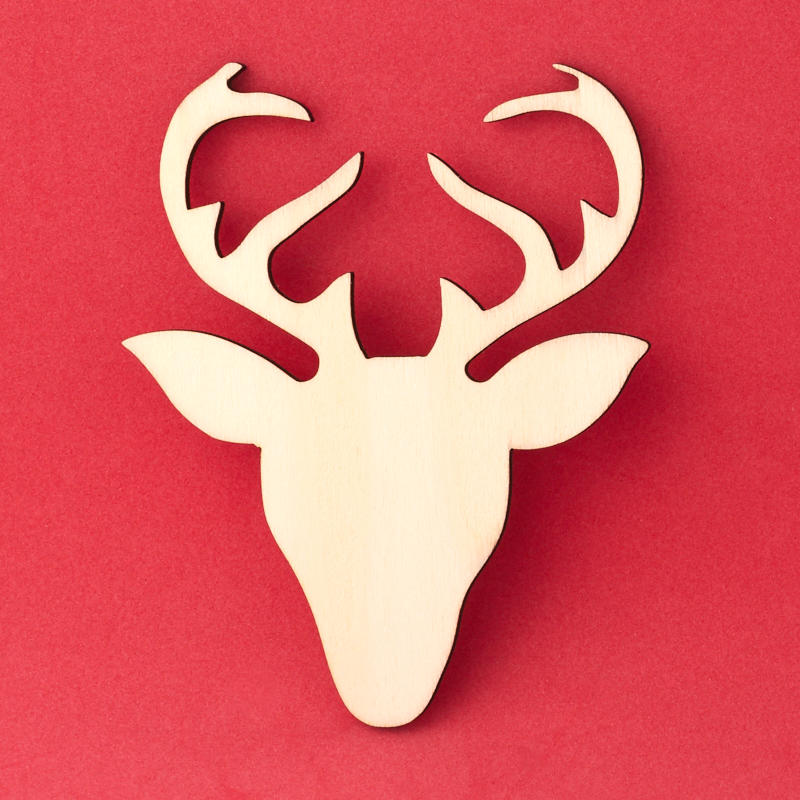 Christmas Reindeer Deer Head Antlers Sign wHanging Hole Unfinished Wood Cutout DIY Crafts Door Wall Hanger ALL SIZES