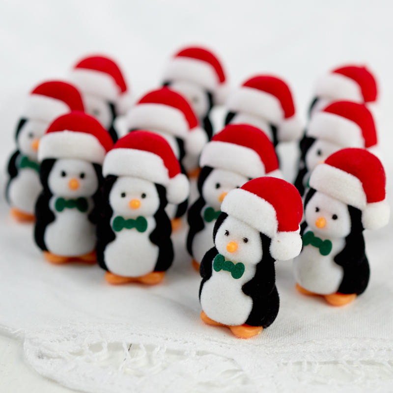 miniature flocked christmas penguins christmas miniatures