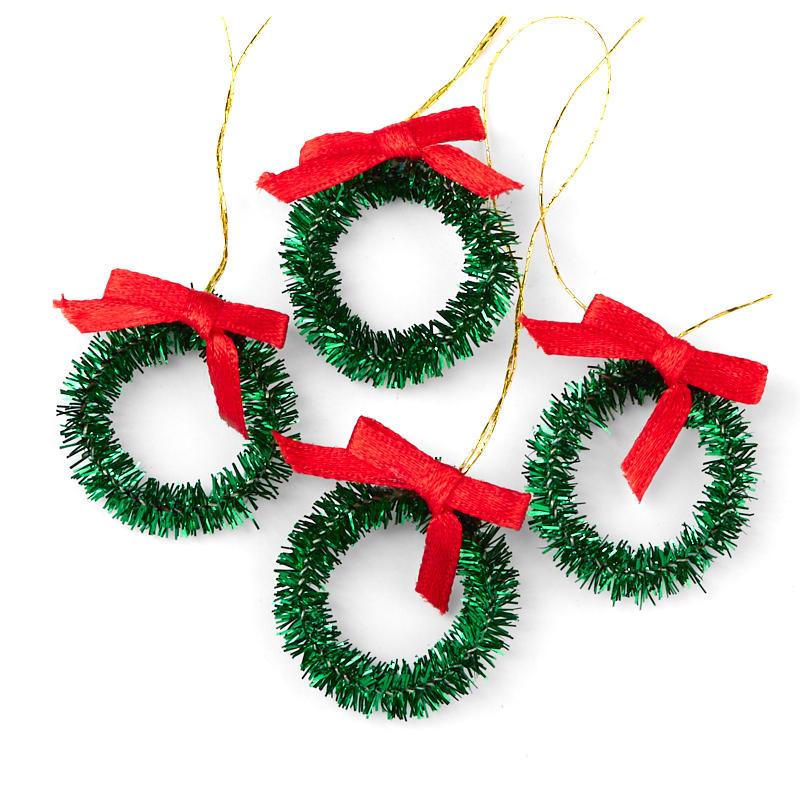 Miniature green tinsel christmas wreaths