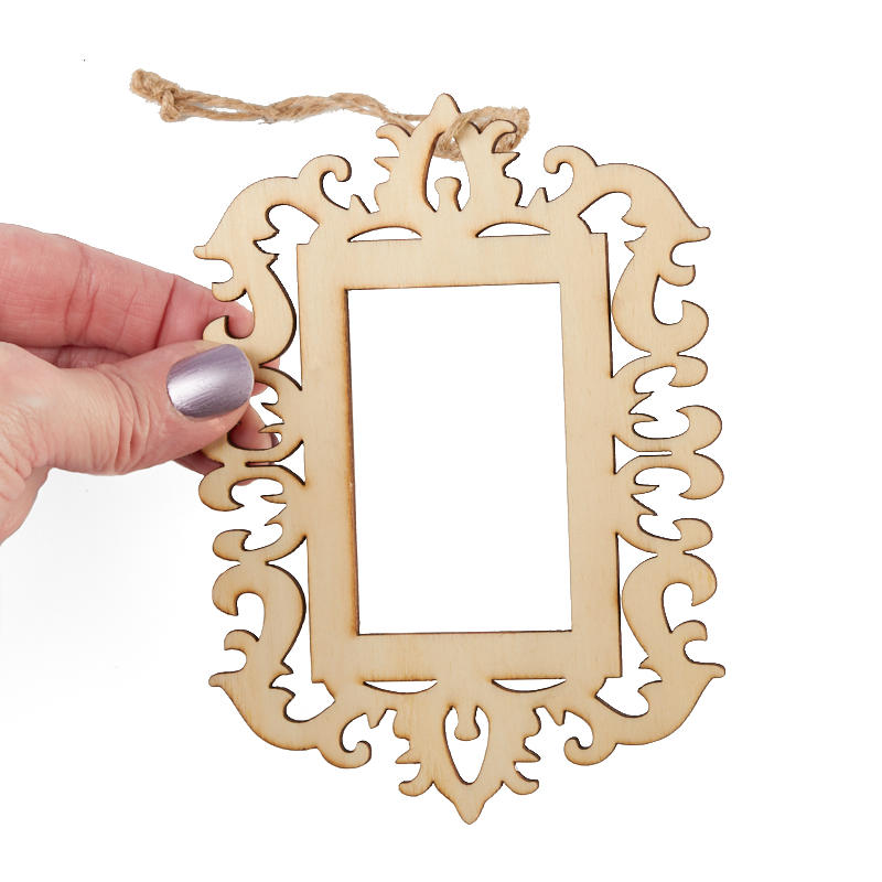 Laser Cut Unfinished Wood Picture Frame Ornament Holiday