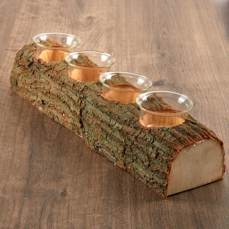 Faux log votive candle holder candles and accessories for Artificial logs for decoration