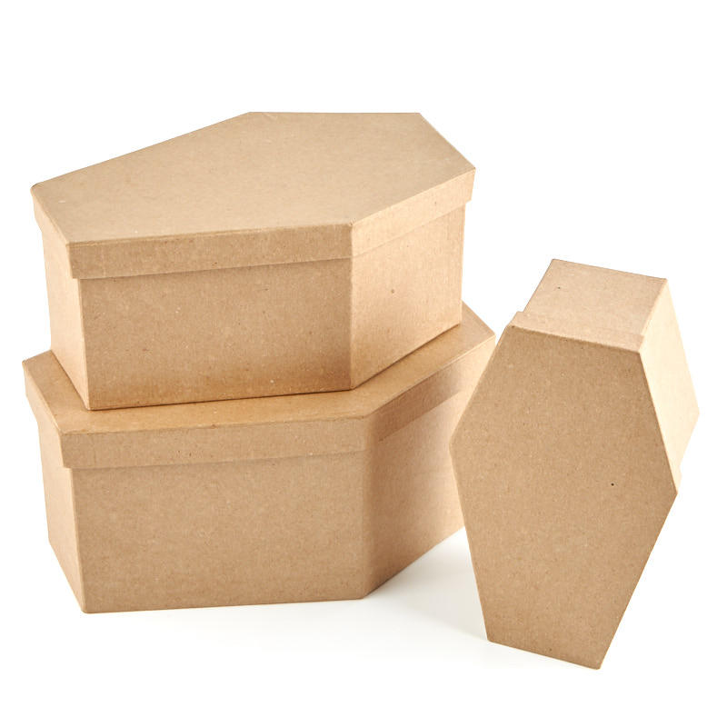 Paper mache coffin boxes paper mache basic craft for Craft paper mache boxes
