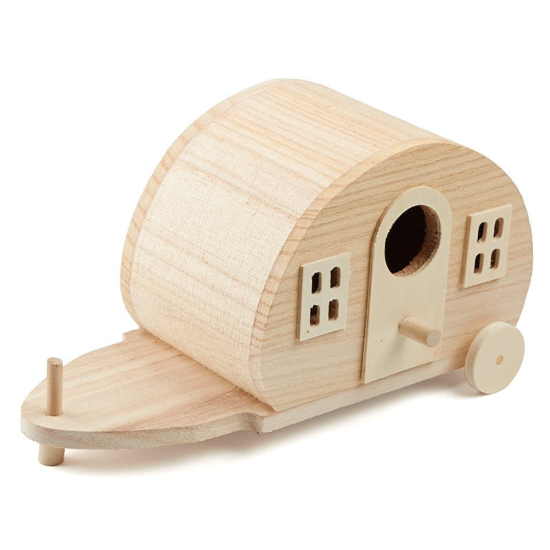 Unfinished wood camper birdhouse wood craft kits for Wood craft supply stores