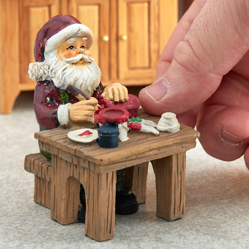 Miniature Santa's Workshop Table Christmas Figurine