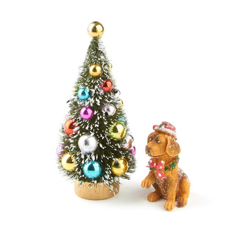 Miniature christmas tree and dog set christmas for Miniature christmas trees for crafts
