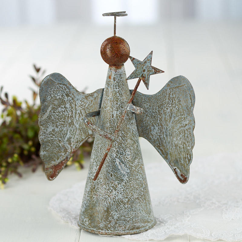 rustic tin angel christmas tree topper trees and toppers christmas and winter holiday crafts. Black Bedroom Furniture Sets. Home Design Ideas