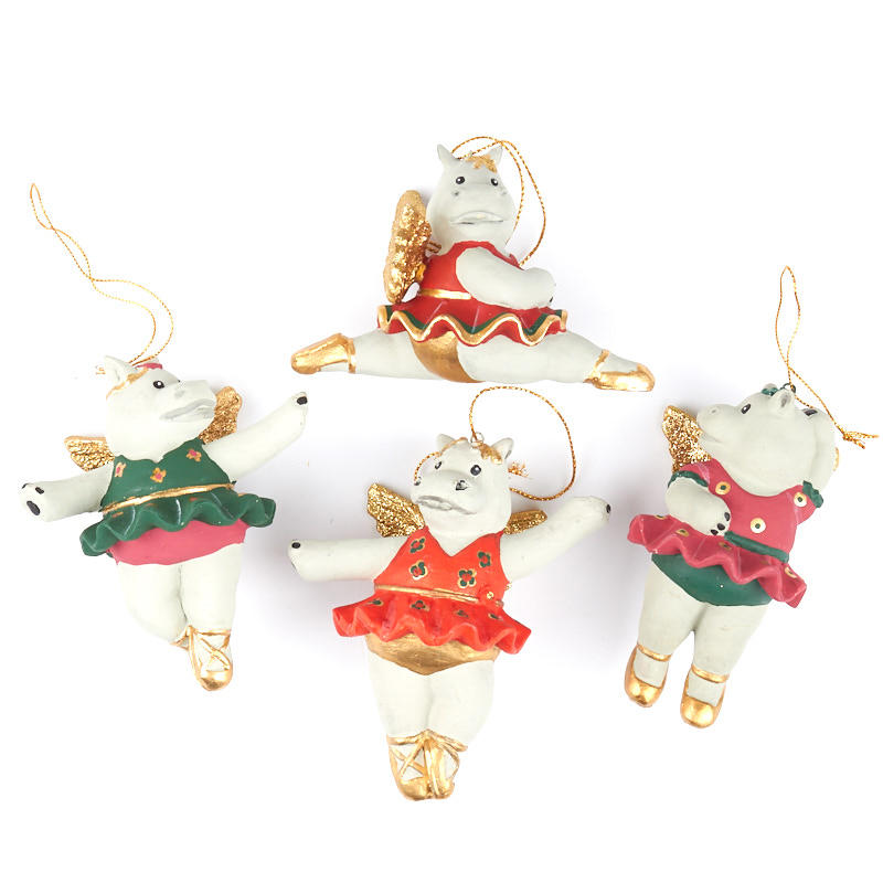 Hippo Christmas Ornament.Twinkle Toes Ballerina Hippo Ornament