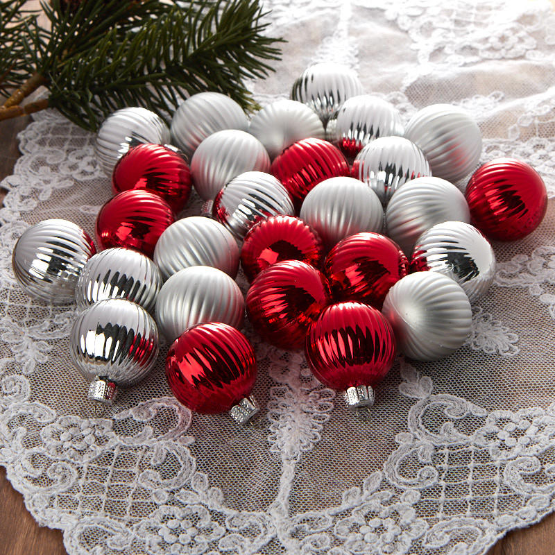 item 240288 other miniature ornaments - Red And Silver Christmas Ornaments
