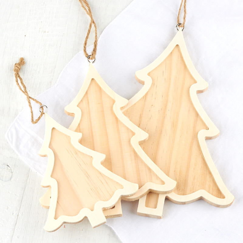 Nested Unfinished Wood Christmas Tree Ornaments