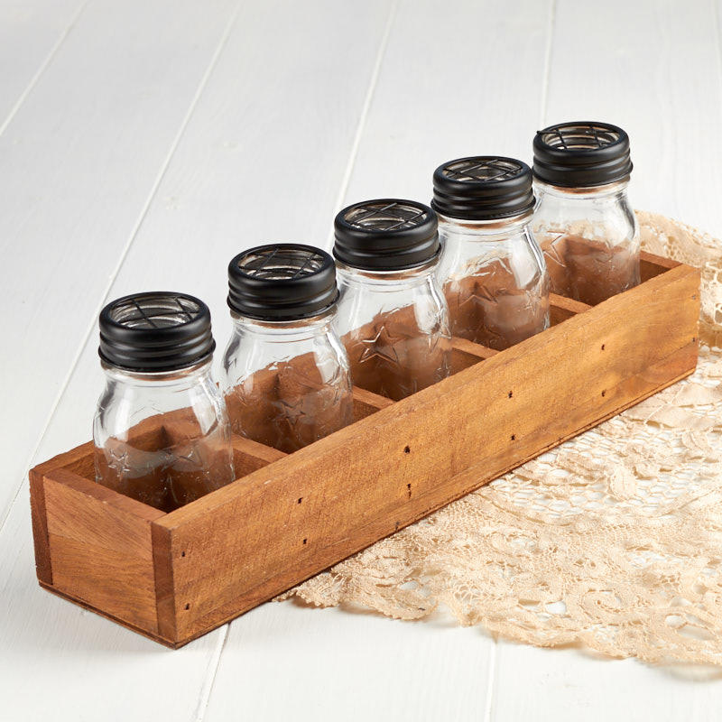 Glass Jar Vases With Wooden Tray Set Decorative Accents