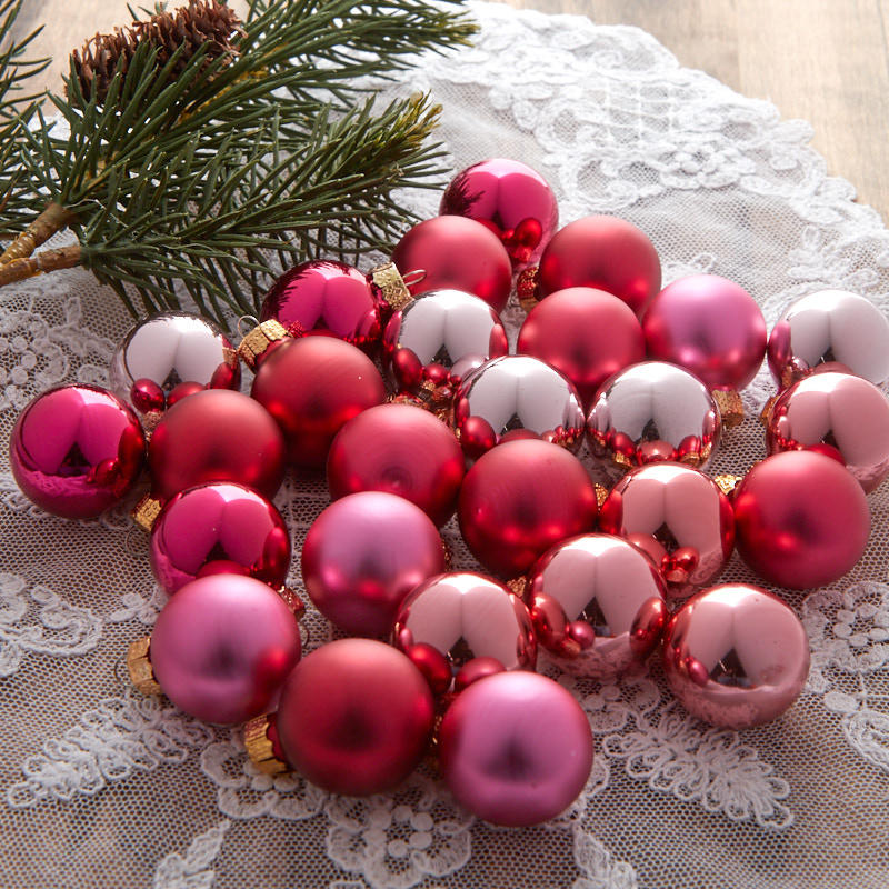 Miniature Pink Christmas Ball Ornaments - Christmas ...