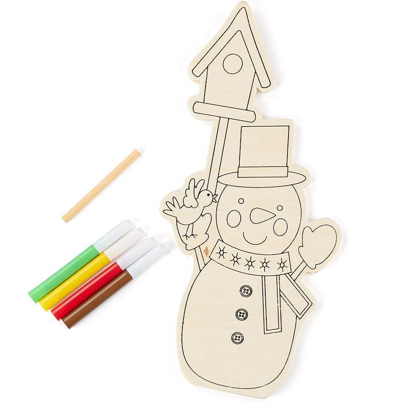 Ready-to-Color Wood Stand Up Snowman Kid\'s Craft Kit