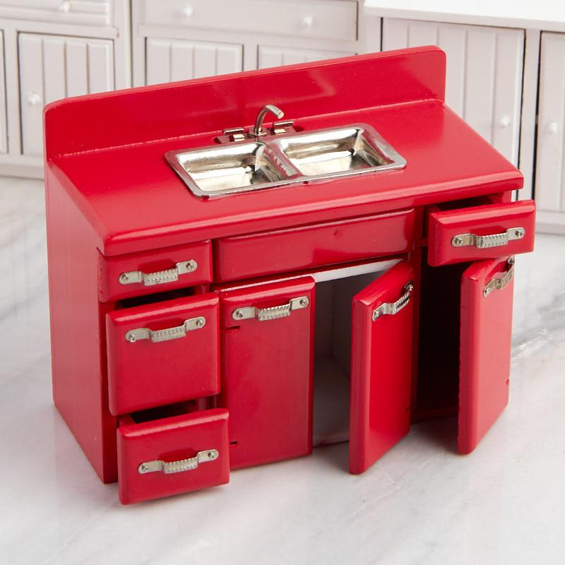Dollhouse Miniature Red Retro Kitchen Sink And Cabinet Set Kitchen