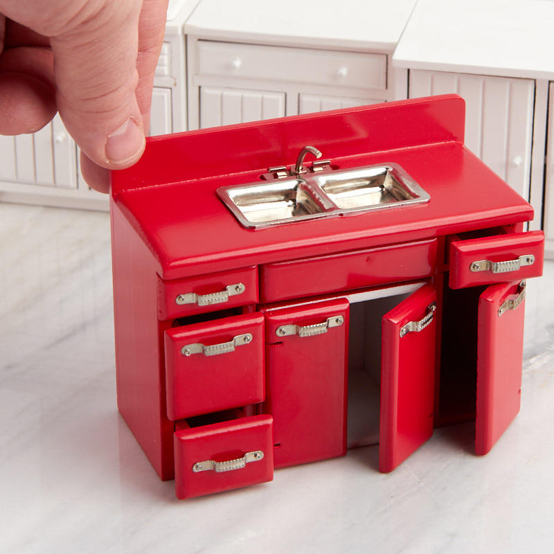 Dollhouse Miniature Red Retro Kitchen Sink and Cabinet Set ...