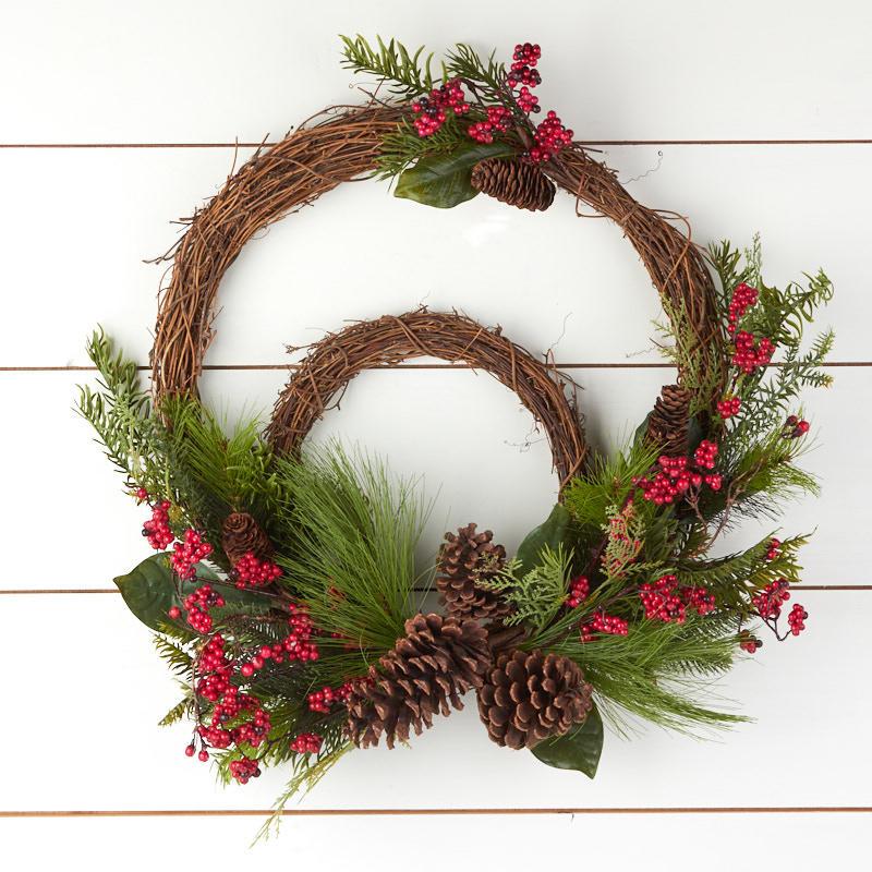 Burgundy Winter Bliss Grapevine Wreath