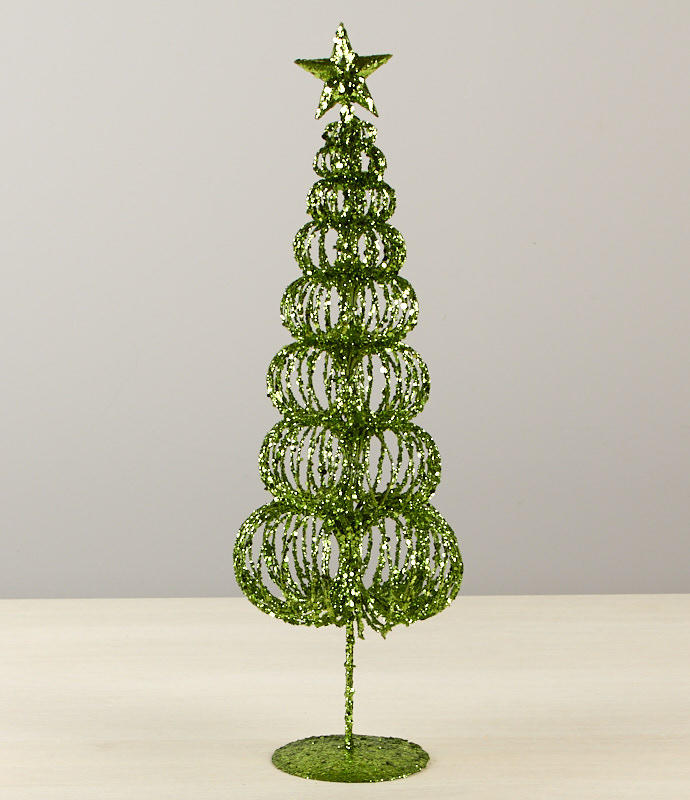 Wire Christmas Tree.Green Glittered Whimsical Wire Christmas Tree