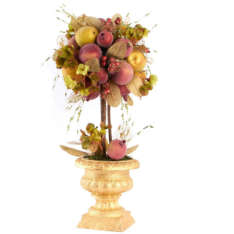 Apple and pomegranate artificial fruit topiary on sale for Artificial pomegranate decoration