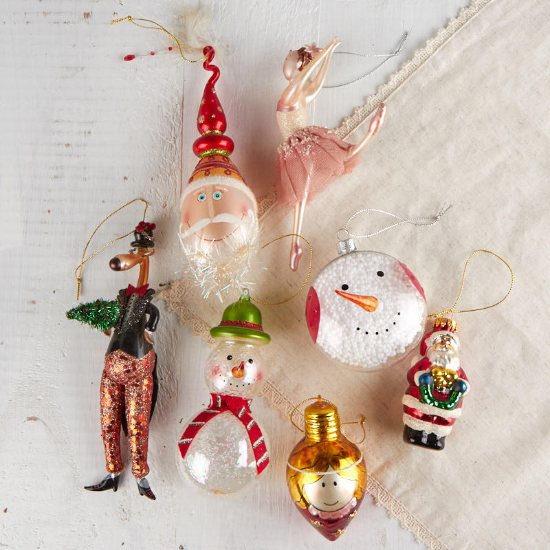 click here for a larger view - Blown Glass Christmas Ornaments