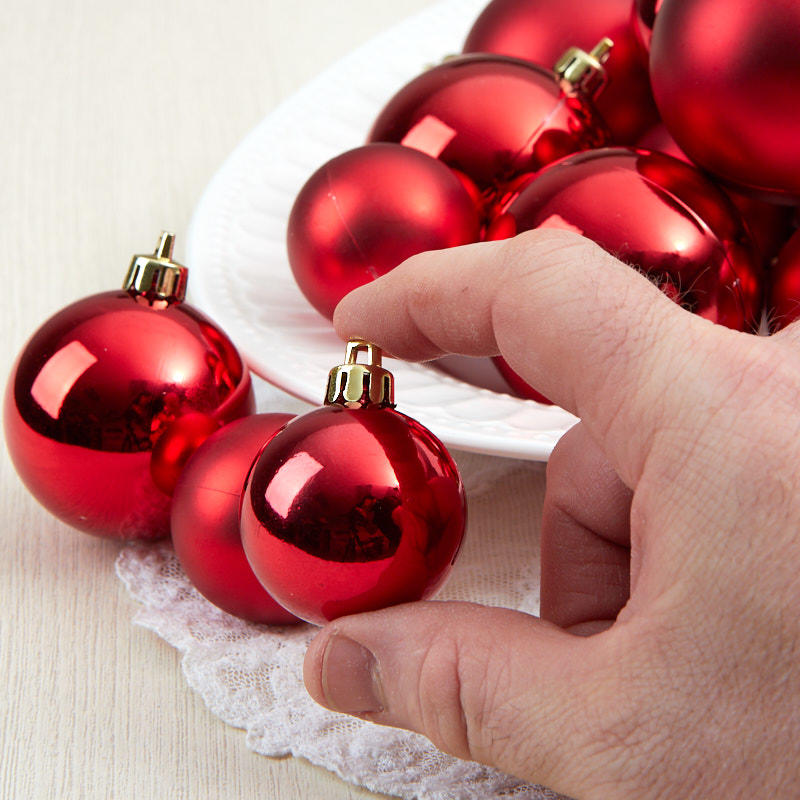 Religious Christmas Ornament Assortment: Assorted Red Christmas Ball Ornaments