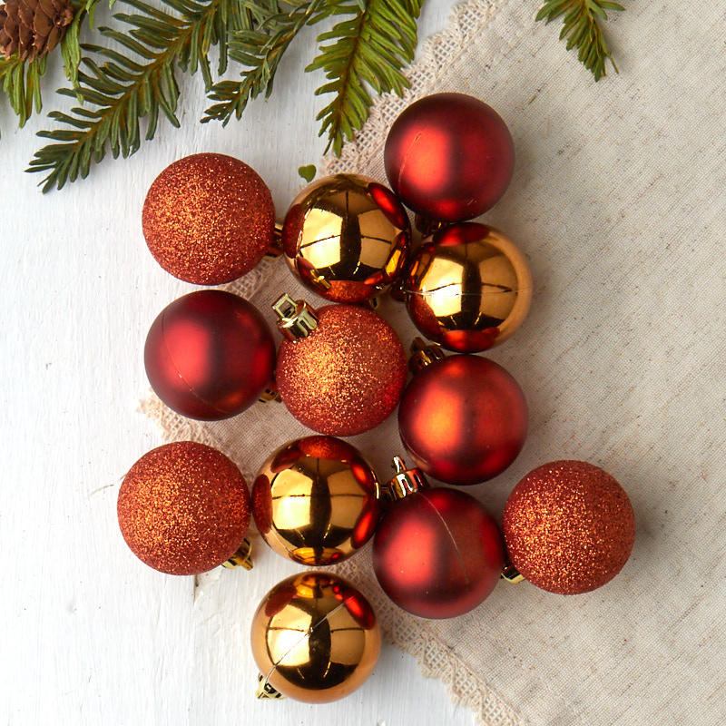 Christmas Decorations With Orange: Miniature Orange Christmas Ball Ornaments