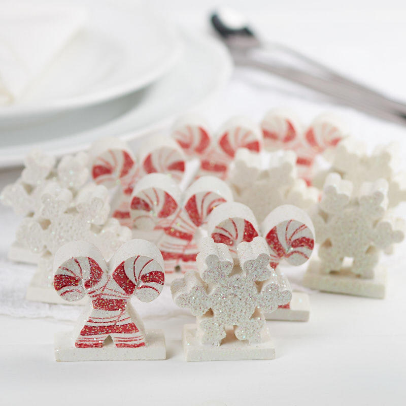 Christmas Candy Cane and Snowflake Table Favors