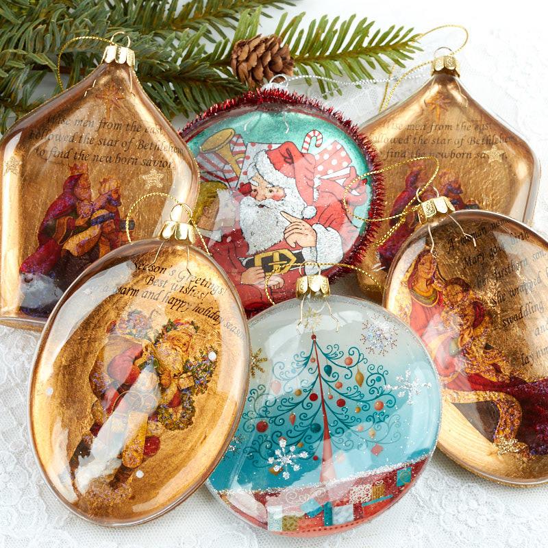 Vintage Inspired Glitter Disk Ornament Set - Christmas ...