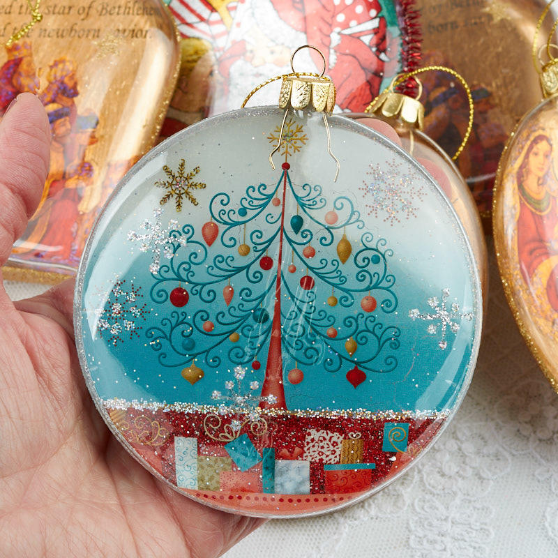 Assorted glass disc ornaments christmas and winter sale for Glass discs for crafts