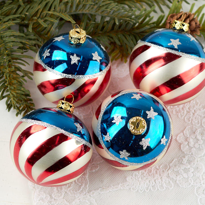 Hand Painted Patriotic Christmas Ball Ornaments ...