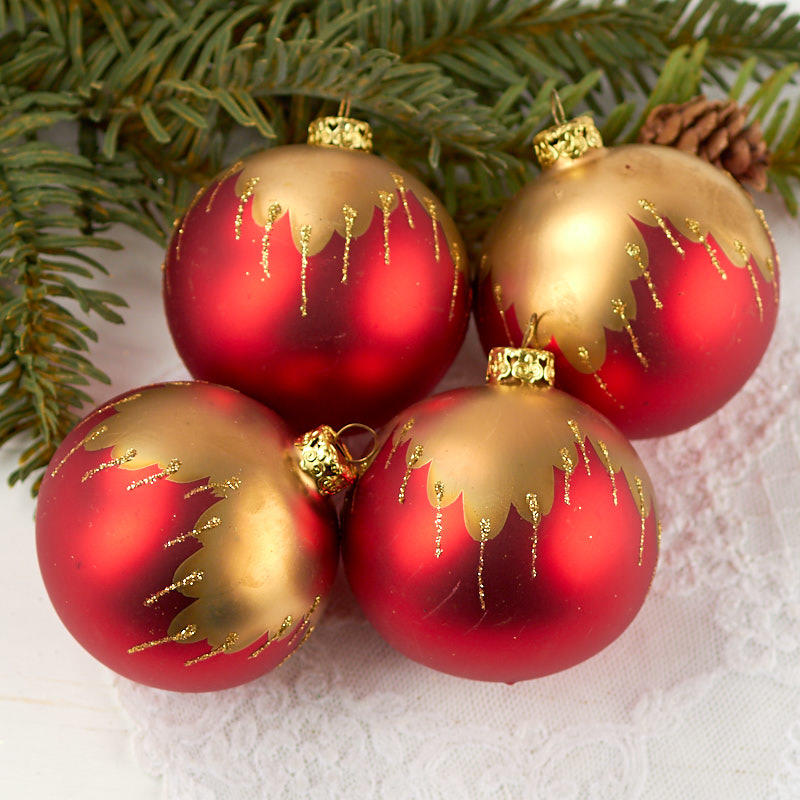item gb13 complete your holiday displays with these hand painted red and gold christmas ball ornaments