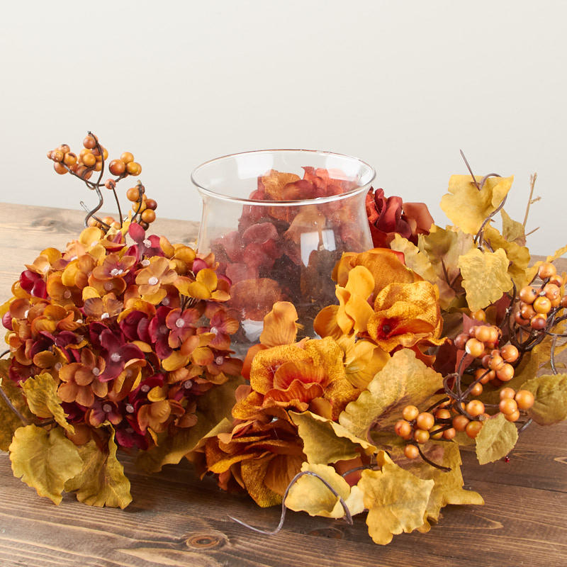 Autumn Artificial Hydrangea And Berry Candle Holder
