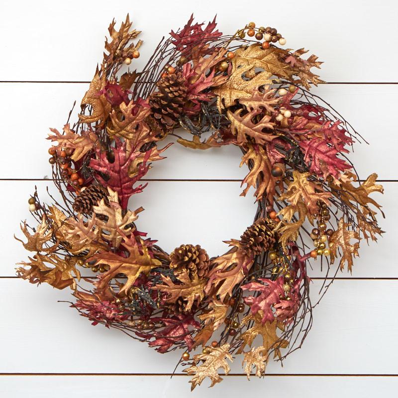 gold gilt autumn artificial oak leaf wreath wreaths floral
