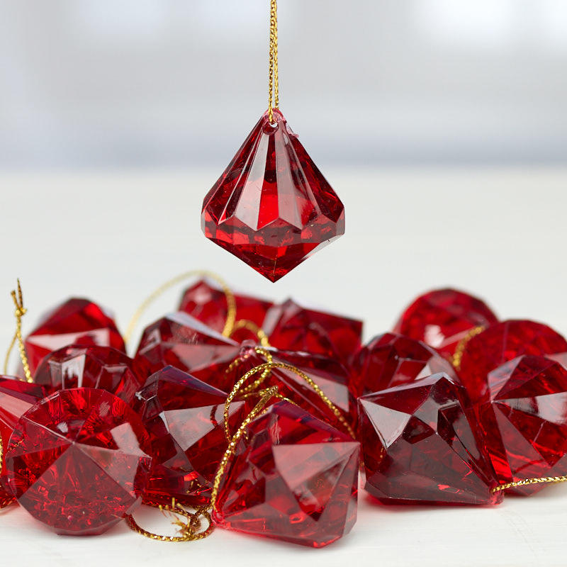 Burgundy Acrylic Diamond Ornaments Christmas Ornaments