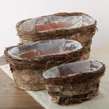 Rustic Birch Bark Planter Box Set