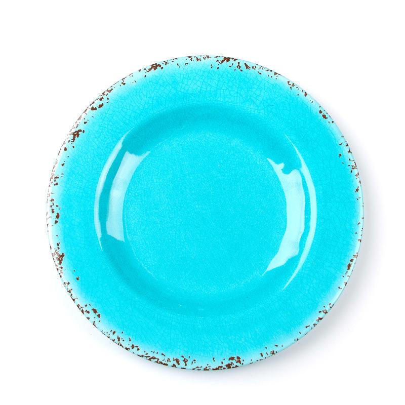 Rustic Turquoise Round Rim Melamine Plate - Kitchen Utensils ...