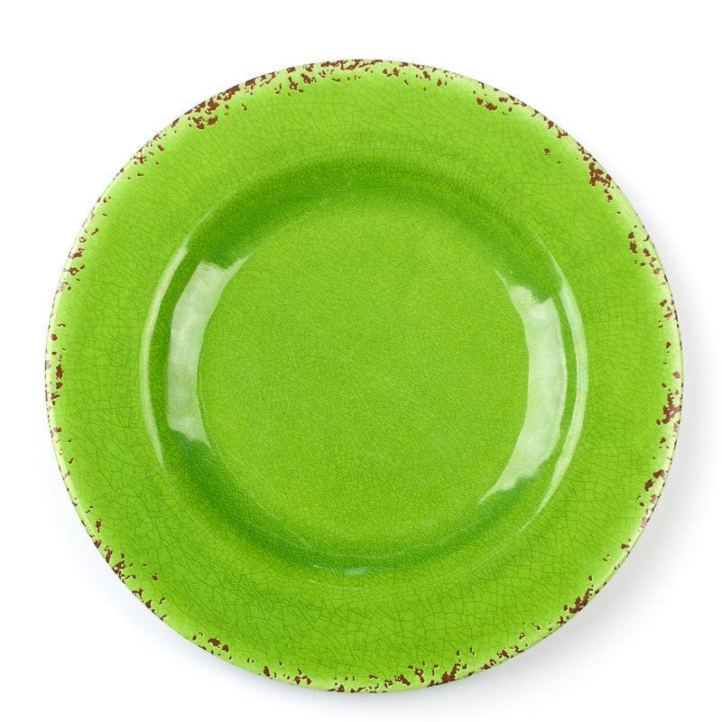 Rustic Green Round Rim Melamine Plate - Kitchen Utensils - Kitchen ...