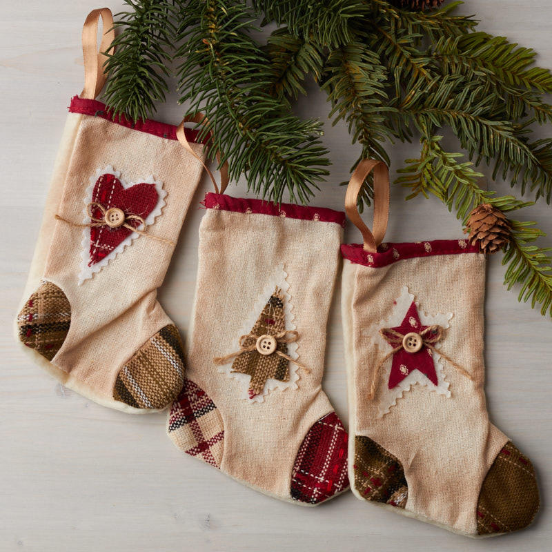 click here for a larger view - Primitive Christmas Stockings