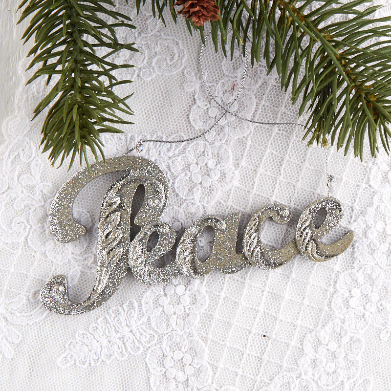 Peace Christmas Ornament.Silver Glittered Peace Christmas Ornament