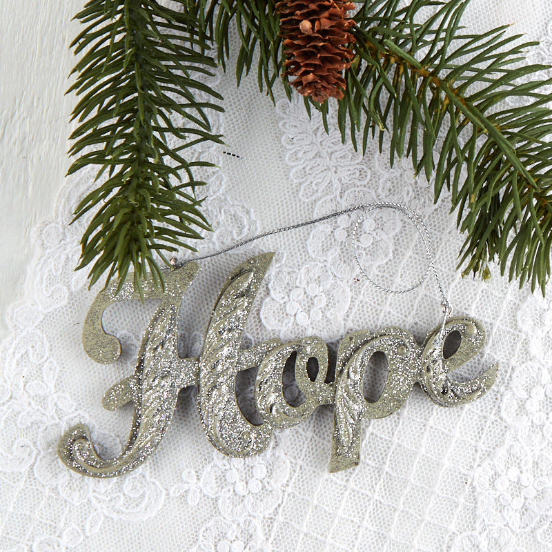 "Silver Glittered ""Hope"" Christmas Ornament - Christmas ..."