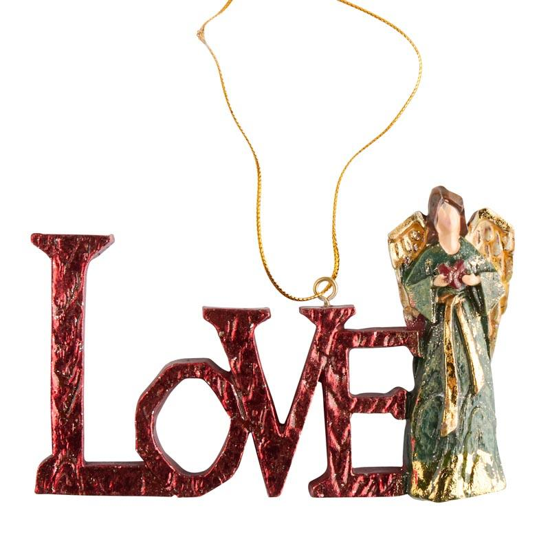 """Red """"Love"""" Angel Christmas Ornament - Christmas Ornaments ..."""