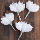 White Glittered Silk Rose Leaves
