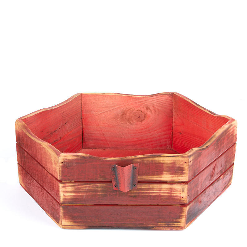 Rustic Red Hexagon Wood Box - Baskets, Buckets, \ Boxes - Home Decor